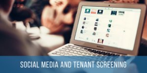 social media and tenant screening text overlay on image