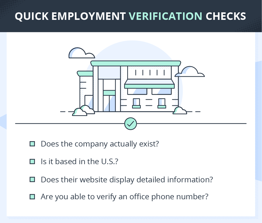 checklist for how to verify a place of employment
